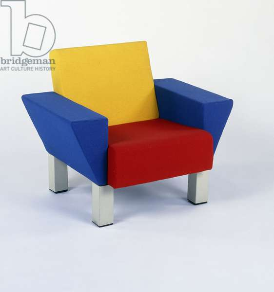 Westside chair, upholstered in shades of red, blue and yellow, 1983 (upholstery, white lacquered metal)