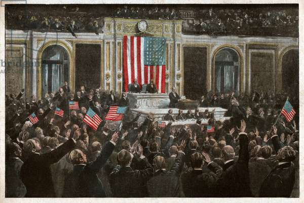 Declaration de guerre aux USA, 1917. Declaration of war, USA, 1917.