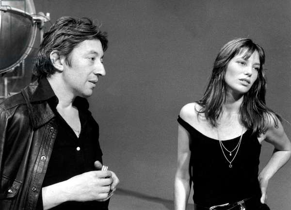 Jane Birkin and Serge Gainsbourg on Set of Melody Nelson September 11, 1971 (b/w photo)