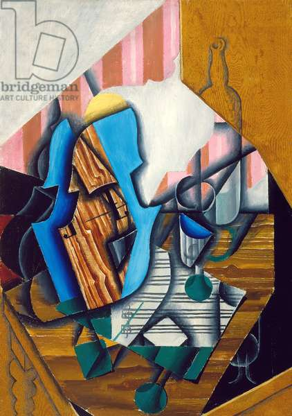 Still life with violin and music sheet, 1914 (oil on paper colle on canvas)