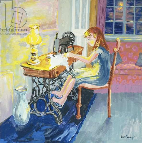 Girl Sewing,2000,(gouache)