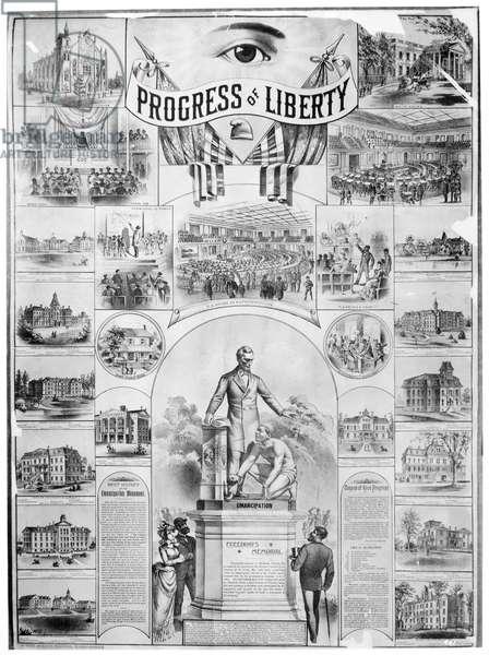 EMANCIPATION PROCLAMATION 'Progress of Liberty.' Lithograph, American, 1886.
