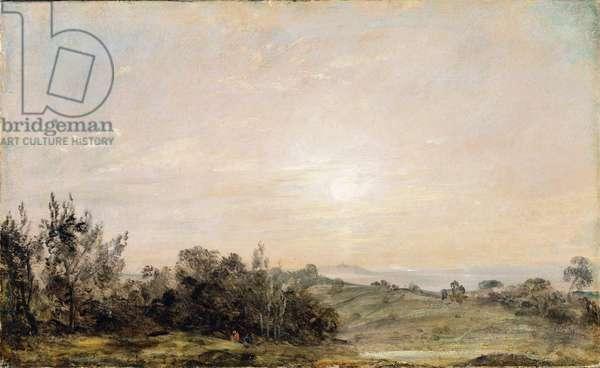 Hampstead Heath, looking towards Harrow, 1821-22 (oil on paper laid on canvas)