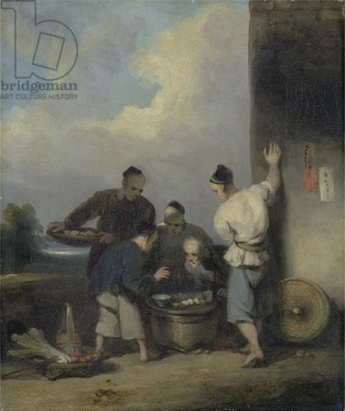 Coolies Round the Food Vendor's Stall, after 1825 (oil on canvas)