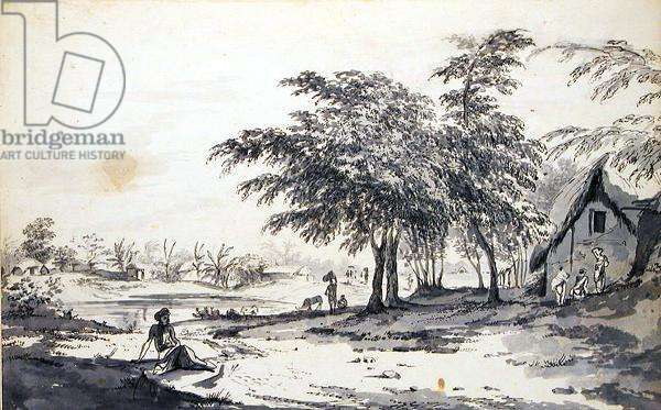 View of an Indian Village with a Man Seated in the Foreground, c.1781-83 (grey wash, pen and black ink and graphite on laid paper)