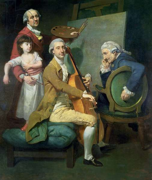 Self Portrait With his Daughter, Maria Theresa (?) and Possibly Giacobbe and James Cervetto (?) c.1779 (oil on canvas)