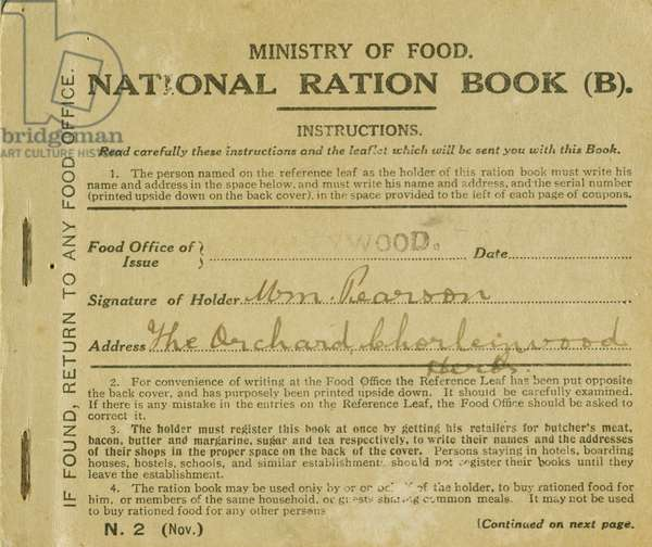 Ration Book for William Pearson, Chorleywood, Hertfordshire, 1919 (print)