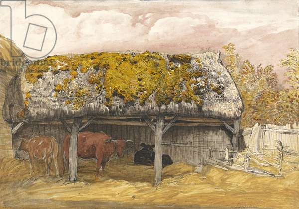 A Cow Lodge with a Mossy Roof, c.1829 (pen & ink with w/c and gouache on paper)