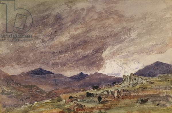 Mountainous Landscape with Stormy Sky (w/c on paper)