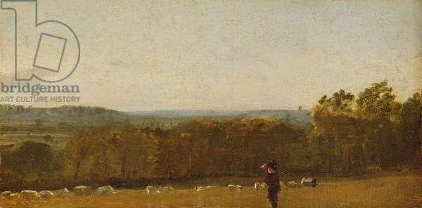 A Shepherd in a Landscape looking across Dedham Vale towards Langham, c.1810 (oil on paper laid on canvas)