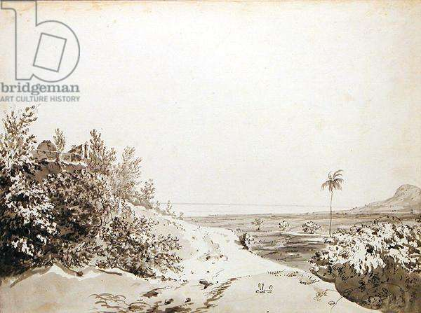 View from the Pass of Sakrigali Looking East Towards Bengal, c.1781 (grey wash, pen and black ink over graphite on laid paper)