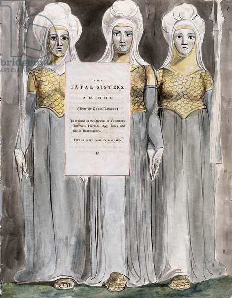 The Fatal Sisters, design 67 from 'The Poems of Thomas Gray', 1797-98 (w/c with pen & ink on paper)