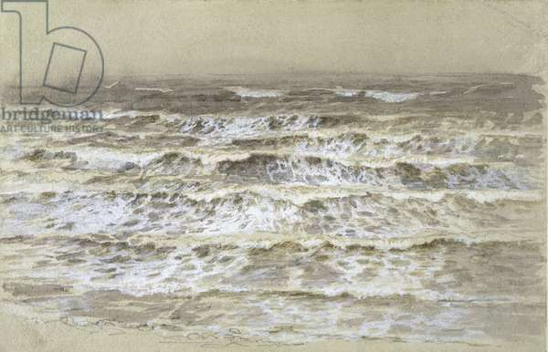 Study of Waves (grey & brown wash, gouache and graphite on paper)