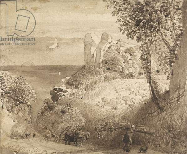 A Pastoral Scene, 1835 (brush & sepia wash on paper)