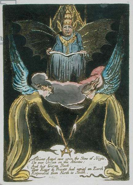 'Albions Angel rose...', plate 12 from 'Europe. A Prohecy', 1794 (relief etching with w/c & oil on paper)