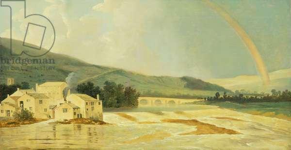 Otley Bridge on the River Wharfe (oil on canvas)