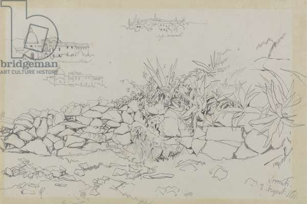 Sorrento, 2 August 1838 (graphite on grey wove paper)