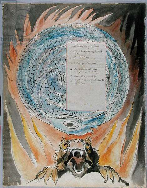 'The Triumphs of Owen', design 86 from 'The Poems of Thomas Gray', 1797-1798 (w/c with pen & ink on paper)