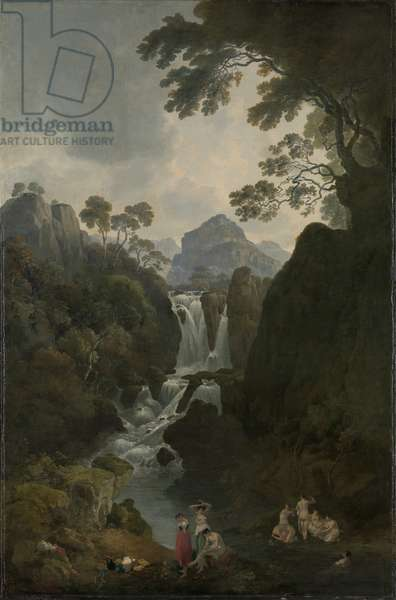 A Waterfall with Bathers, c.1800-17 (oil on canvas)