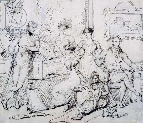 A Family Group Around a Piano (pen & brown ink with graphite on paper)