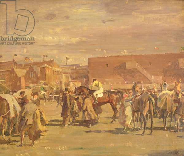 Saddling Up for the Grand National: Before the Snowstorm, 1919 (oil on canvas) (see 158091)