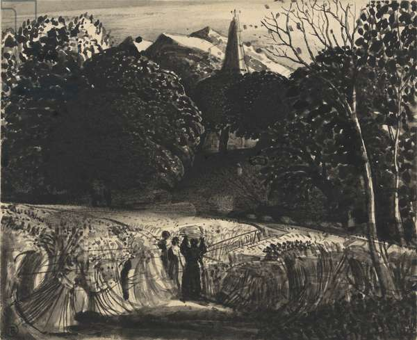 Cornfield and Church by Moonlight (brush & black ink on paper)