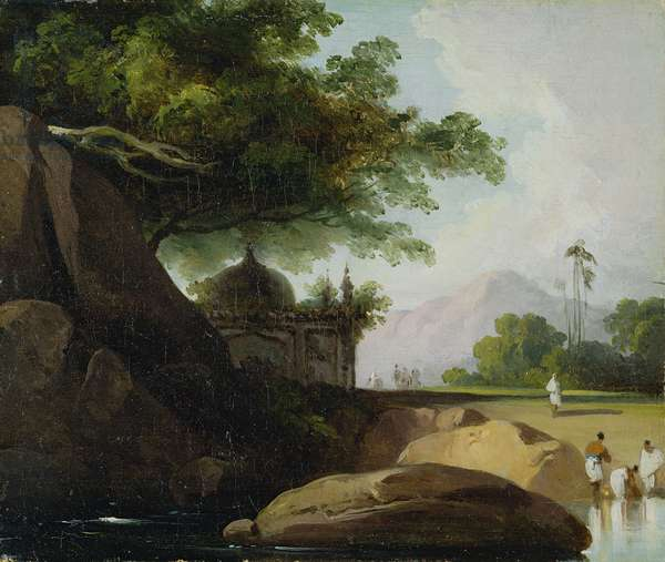 Indian Landscape with Temple, c.1815 (oil on canvas)