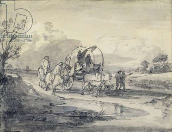 Open Landscape with Herdsman and Covered Cart, c.1780-85 (grey and black wash and chalk laid on paper)