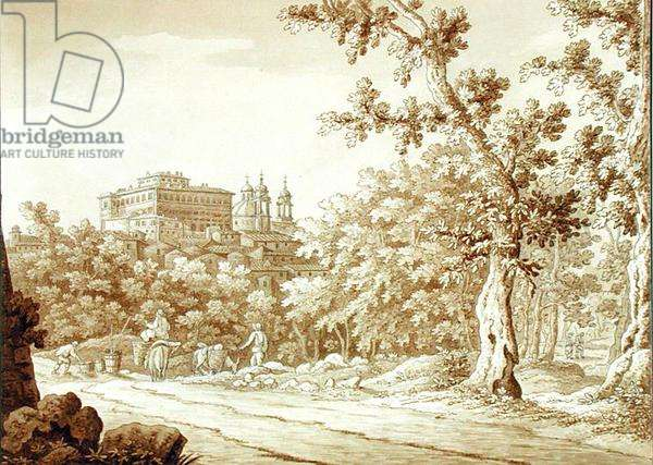 View at Valmontone, from a volume of 66 views drawn from nature in the neighbourhood of Rome and Abruzzo, November 1790 (pen and ink wash on paper)