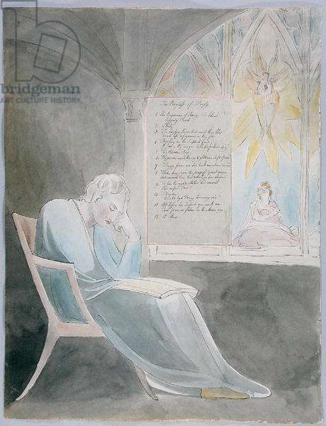 'The Progress of Poesy', design 42 from 'The Poems of Thomas Gray', 1797-98 (w/c with pen & black ink on paper)