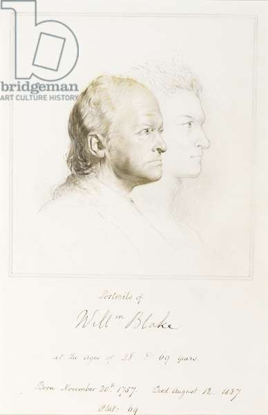 William Blake (1757-1827) in Youth and Age (graphite with brush and brown ink)