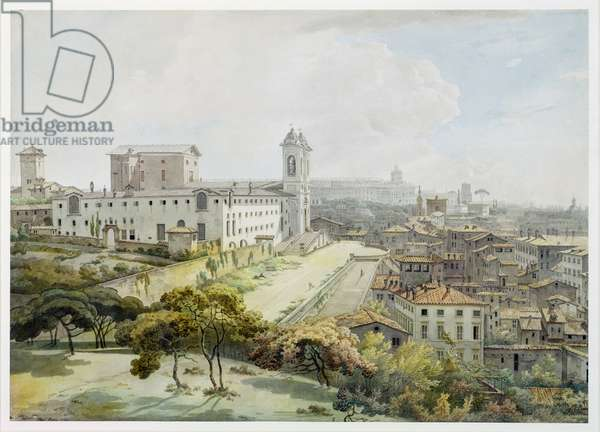 A View of Rome taken from the Pincio, 1776 (w/c over graphite on antique laid paper)