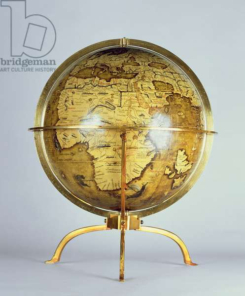 Terrestrial globe, one of a pair known as the 'Brixen' globes, c.1522 (pen & ink, w/c & gouache on wood)