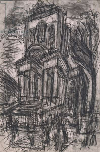 Christchurch, Spitalfields, No.2, 1990 (charcoal on paper)