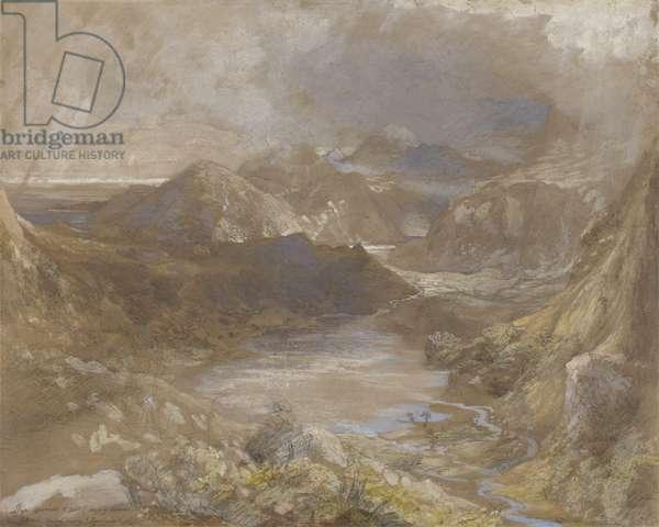 Llwyngwynedd and part of Llyn-y-ddina Between Capel Curig and Beddegelert, North Wales, 1835-36 (w/c, gouache & graphite on paper)