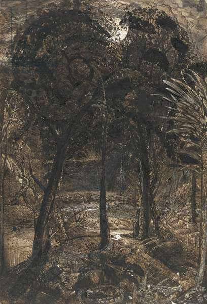 A moonlit scene with a winding river, 1827 (wash & gouache on paper)