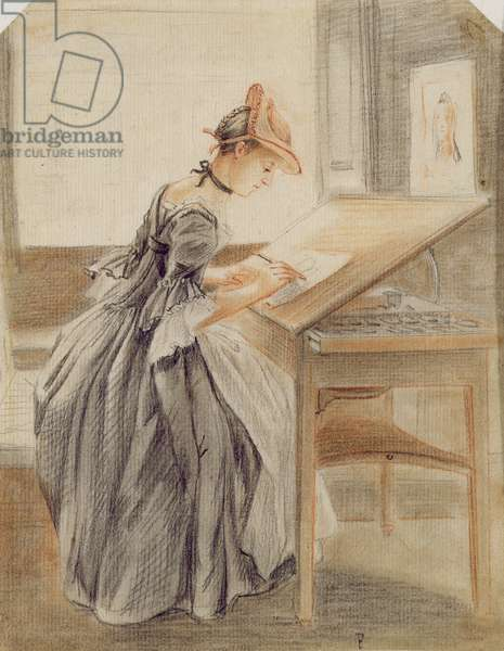 A Lady Copying at a Drawing Table, c.1760-70 (graphite, red and black chalk and stump on paper)