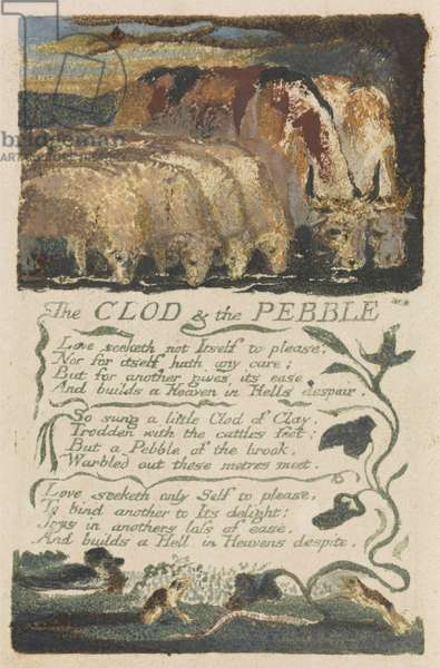 'The Clod & the Pebble,' plate 36 from 'Songs of Experience,' 1794 (relief etching with watercolour)
