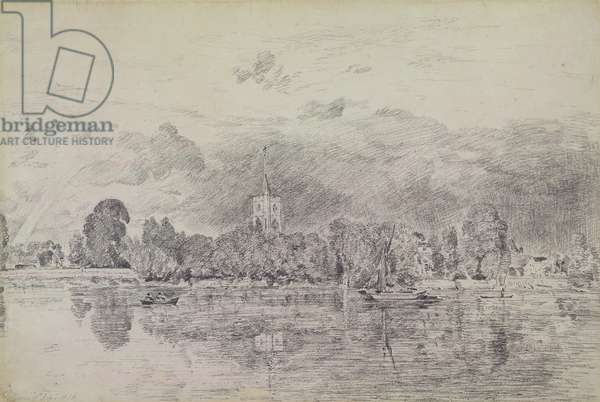 Fulham church from across the River, 1818 (graphite on paper)