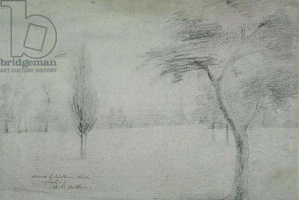 Landscape with Spire, c.1801 (pencil on paper)
