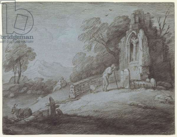 Churchyard with Figure Contemplating Tombstone (etching on paper)