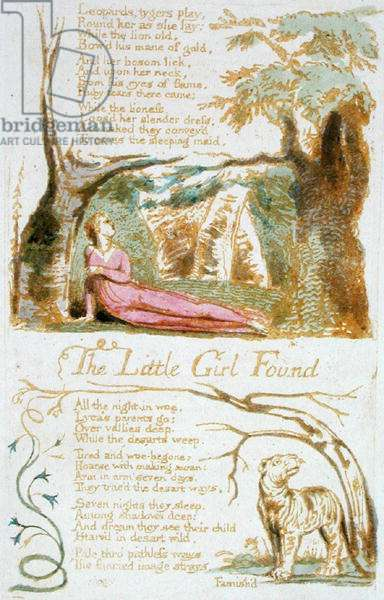 'The Little Girl Found', plate 6 from 'Songs of Innocence', 1789 (relief etching with w/c on paper)