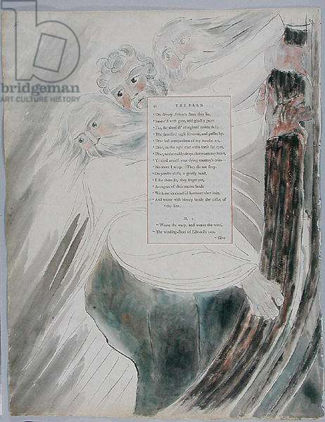 The Bard, design 58 from 'The Poems of Thomas Gray', 1797-98 (w/c with pen & ink on paper)