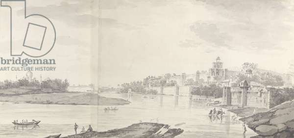 A View of the Fort of Agra on the River Jumna from the north-east, c.1783 (grey wash & pencil on paper)