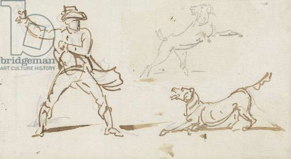 A Man throwing a Ball to a Dog (pen & graphite on paper)