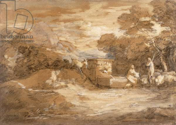 Mountain Landscape with Figures, Sheep and Fountain, c.1785-88 (grey wash, oil and black chalk on laid paper)