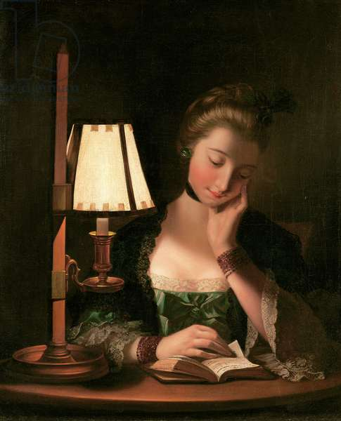 Woman Reading by a Paper-bell Shade, 1766 (oil on canvas)