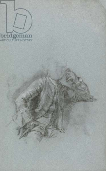 Study for a Portrait of a Seated Gentleman (chalk with stump on blue laid paper)