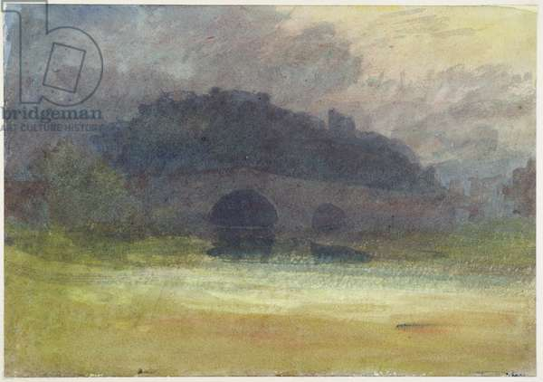 Evening Landscape with Castle and Bridge in Yorkshire, c.1798-99 (w/c on wove paper)