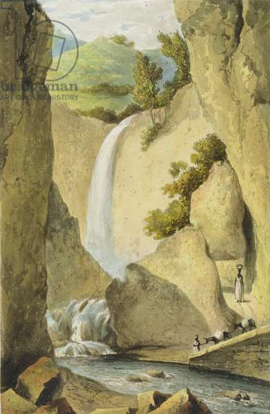 Waterfall on the Windward Road near Kingston, from 'A Picturesque Tour of the Island of Jamaica', engraved by Thomas Sutherland, 1824 (colour litho)